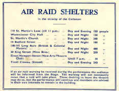 Air Raid Shelter Notice from Aladdin Programme 1940/1